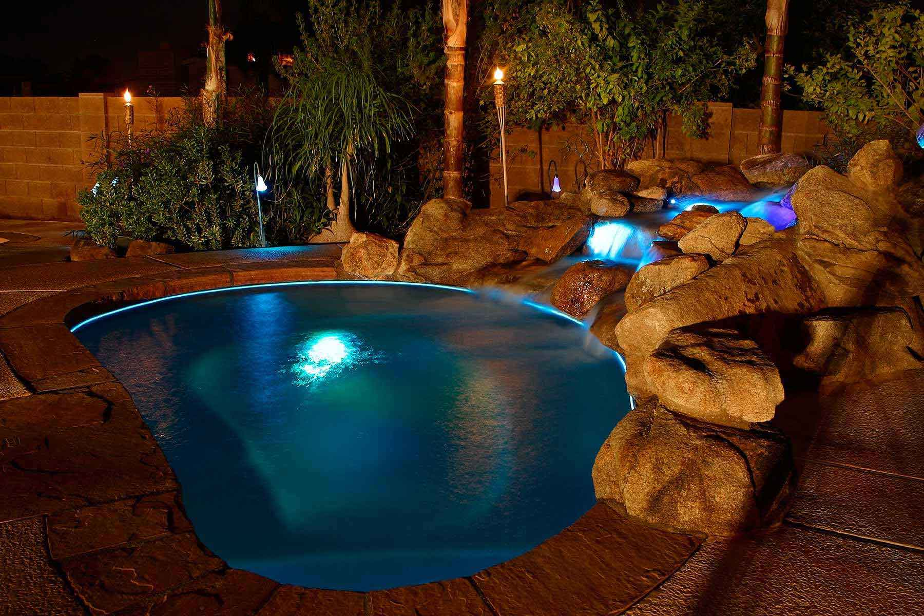 Spa with Water Feature and Fiber Optic Lighting in Phoenix